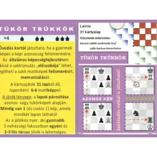 Tükör Trükkök Sakk Kártya csomag